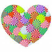 Lollipop heart on white background vector illustration.
