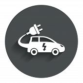Electric car sign icon. Hatchback symbol.