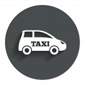 Taxi car sign icon. Hatchback symbol.