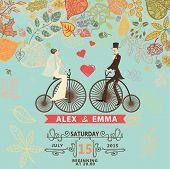Wedding invitation .Groom,bride,retro bicycle,autumn leawes
