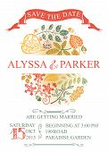 Vintage wedding save date card with leaves
