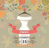 Bridal shower invitation.Bridal dress,autumn leaves