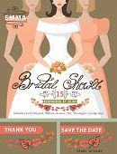 Bridal shower invitation set.Bride,bridesmaids,autumn leaves