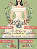 Bridal shower invitation set.Bride portrait,autumn leaves