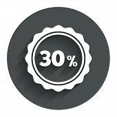 30 percent discount sign icon. Sale symbol.
