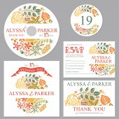 Autumn wedding template set with leaves