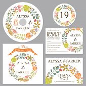 Autumn wedding template set with leaves wreath