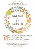 Autumn wedding invitation with leaves wreath