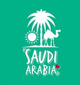 I Love Saudi Arabia in Green Color