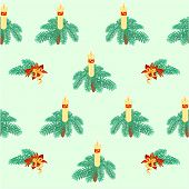 Seamless Texture Christmas Candle Decorations Vector