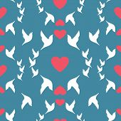 Wedding Seamless Pattern Doves And Hearts