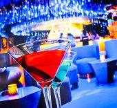 Blue And Red Cocktail Drink With Space For Text