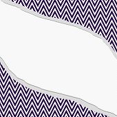 stock photo of chevron  - Purple and White Chevron Zigzag Frame with Torn Background with center for copy - JPG