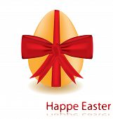 egg with a red bow, vector