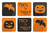 Halloween vector button set with bat and pumpkin. Orange and black sign isolated on white