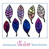 Set of watercolor stylized leaves