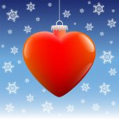 Christmas Ball Heart Snow