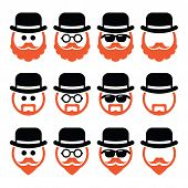 Man in hat with ginger beard and glasses icons set