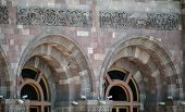 stock photo of armenia  - Part of the old building facade and windows of the Ministry of Finance Yerevan Armenia - JPG