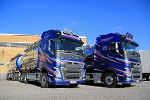 Two Volvo FH 500 Chemical Tank Trucks On A Yard