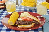 Cheeseburger With Corn On The Cob