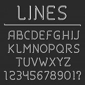 Retro Line Alphabet And Numbers