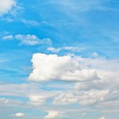 Blue Autumn Sky With White Cumulus Clouds