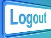 Logout internet blue icon.
