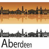 Aberdeen Skyline In Orange Background