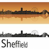 Sheffield Skyline In Orange Background