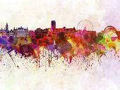 Sheffield Skyline In Watercolor Background