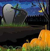 Pumpkins Near The Graves
