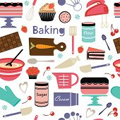 picture of cake-mixer  - A colorful bakery seamless pattern - JPG