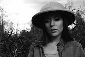 safari woman in swamp black and white