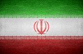 Iran Flag Concept On Leather For Background
