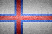 Closeup Screen Faroe Island Flag Concept On Pvc Leather For Background