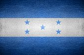 Closeup Screen Honduras Flag Concept On Pvc Leather For Background