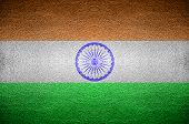 Closeup Screen India Flag Concept On Pvc Leather For Background