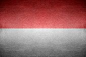 Closeup Screen Indonesia Flag Concept On Pvc Leather For Background