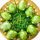 Green Glass Eggs In Basket