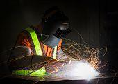 Worker Work Hard With Welding