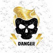 Skull hipster. Vector illustration. Template for design t-shirts.