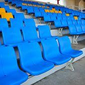 Empty Bright Blue Stadium Seats