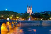 stock photo of anjou  - Cityscape of Angers at a summer night - JPG