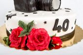Birthday Cake For Forty Anniversary With Modern Dslr Photo Camera
