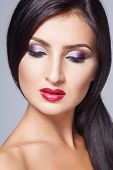fashion young latin woman with glamour make-up