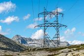 High Voltage Pylon On Gotthard Pass (switzerland)
