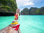 Long Tail Boat In Maya Bay, Ko Phi Phi, Thailand