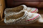 Belarus, Dudutki, A Souvenir Shop. Woven  Shoes From Straw