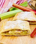 Strudel With Rhubarb And Napkin On Board
